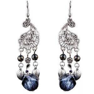 Jewelry - Black Crystal Hollow Tassel Boho Drop Earrings